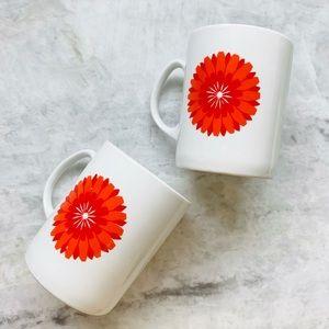 Vintage Mid Century Jarolina Red Flower Coffee Cup